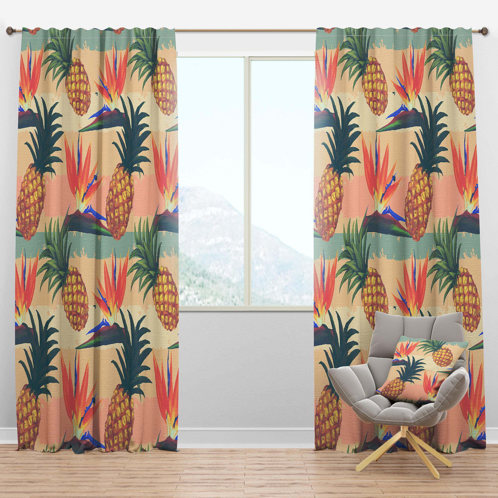 Designart Tropical Exotic And Pineapple Semi Sheer Thermal Rod Pocket Single Curtain Panel Wayfair