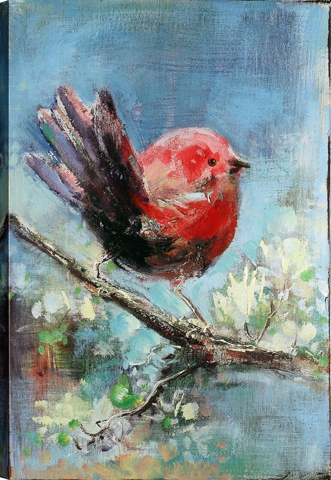 Winston Porter Red Bird Oil Painting Print On Canvas Wayfair