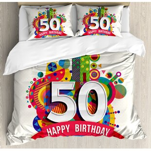 50th Birthday Decorations Cartoon Style Pop Poster Like Celebration Label Festive Duvet Set by Ambesonne