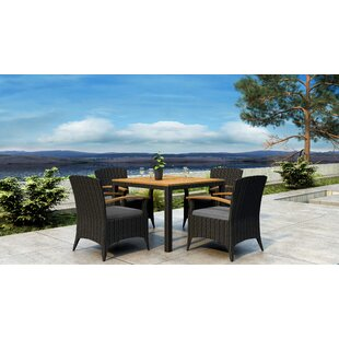 Aisha 5 Piece Dining Set with Sunbrella Cushion