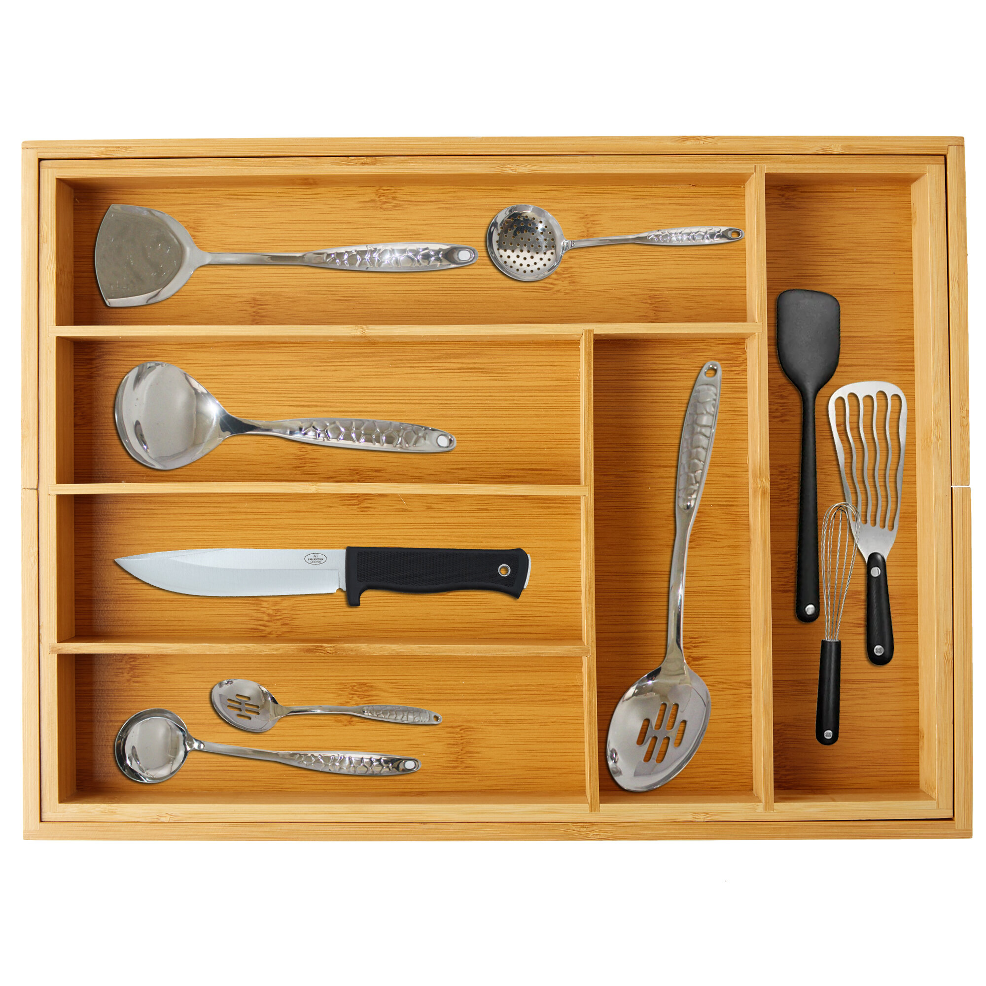 Bamboo Expandable Drawer Organizer for Utensils Holder Adjustable Cutlery Tray,