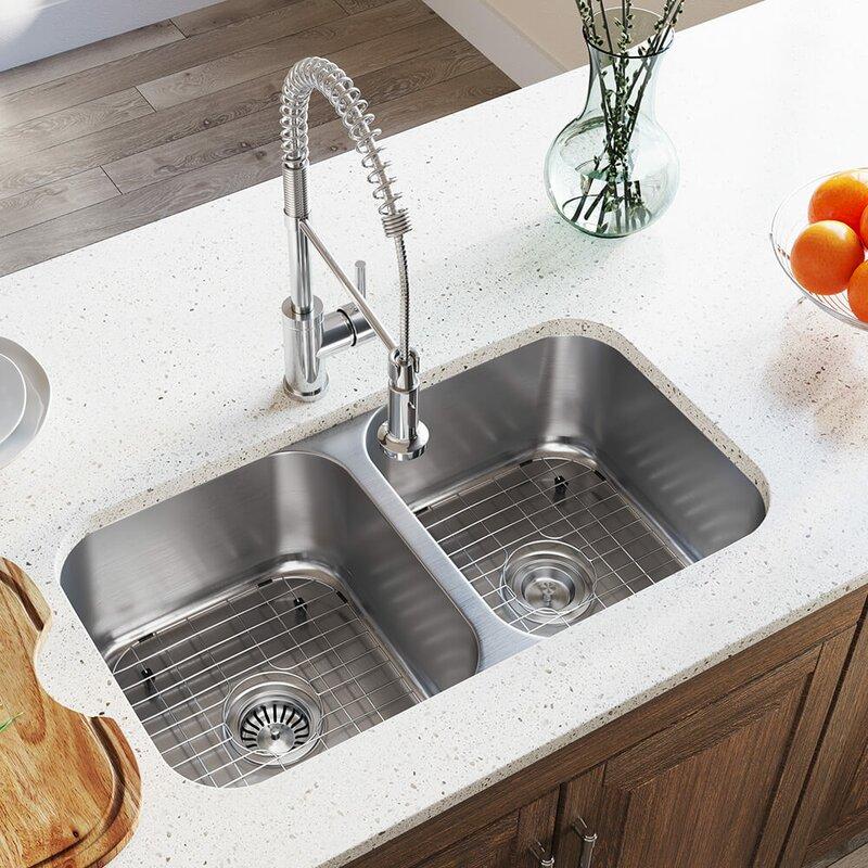 Mrdirect Stainless Steel 33 X 18 Double Basin Undermount Kitchen Sink Reviews Wayfair