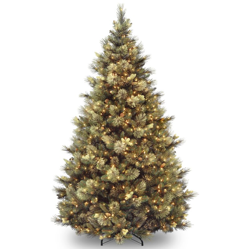 green faux pine artificial christmas tree with white lights - Christmas Tree White Lights