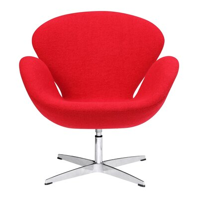 Astounding Fine Mod Imports Swan Swivel Armchair Upholstery Strawberry Pink Bralicious Painted Fabric Chair Ideas Braliciousco