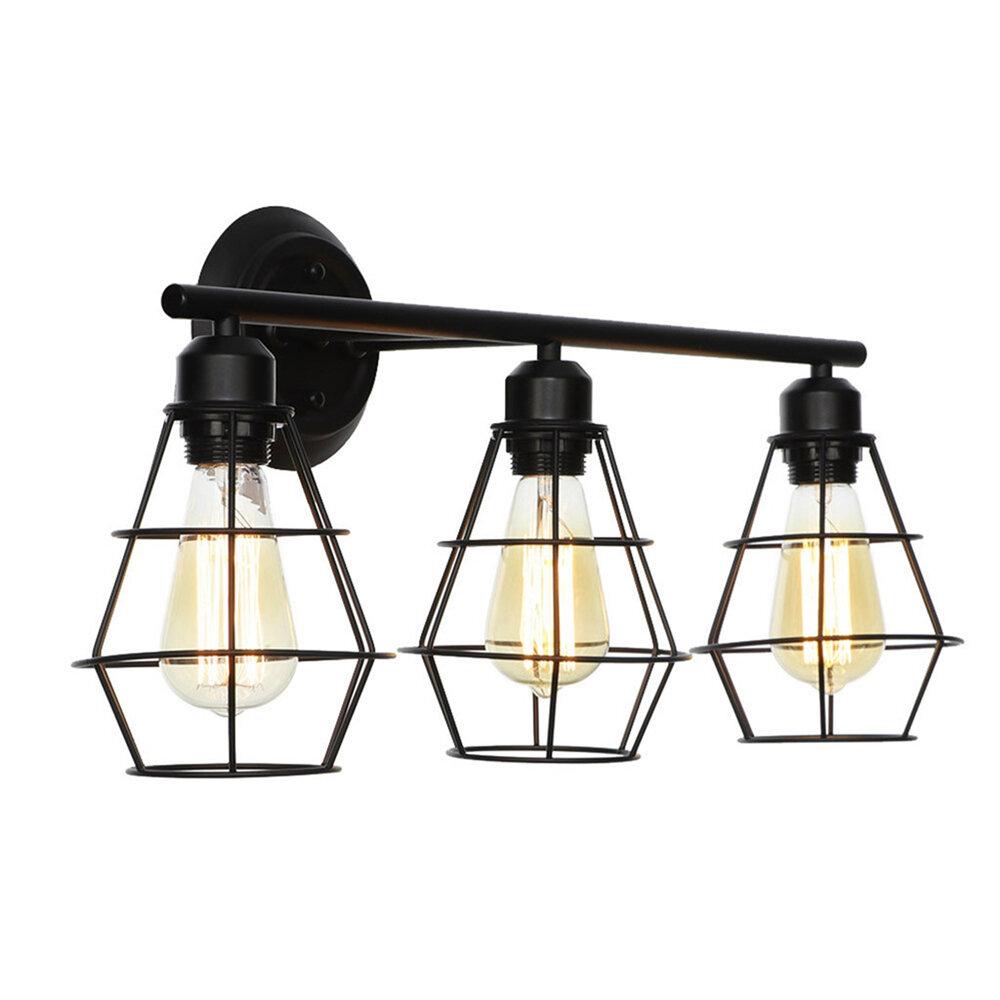 17 Stories 3 Light Industrial Bathroom Vanity Light Metal Wire Cage Wall Sconce Wall Lamp Wayfair