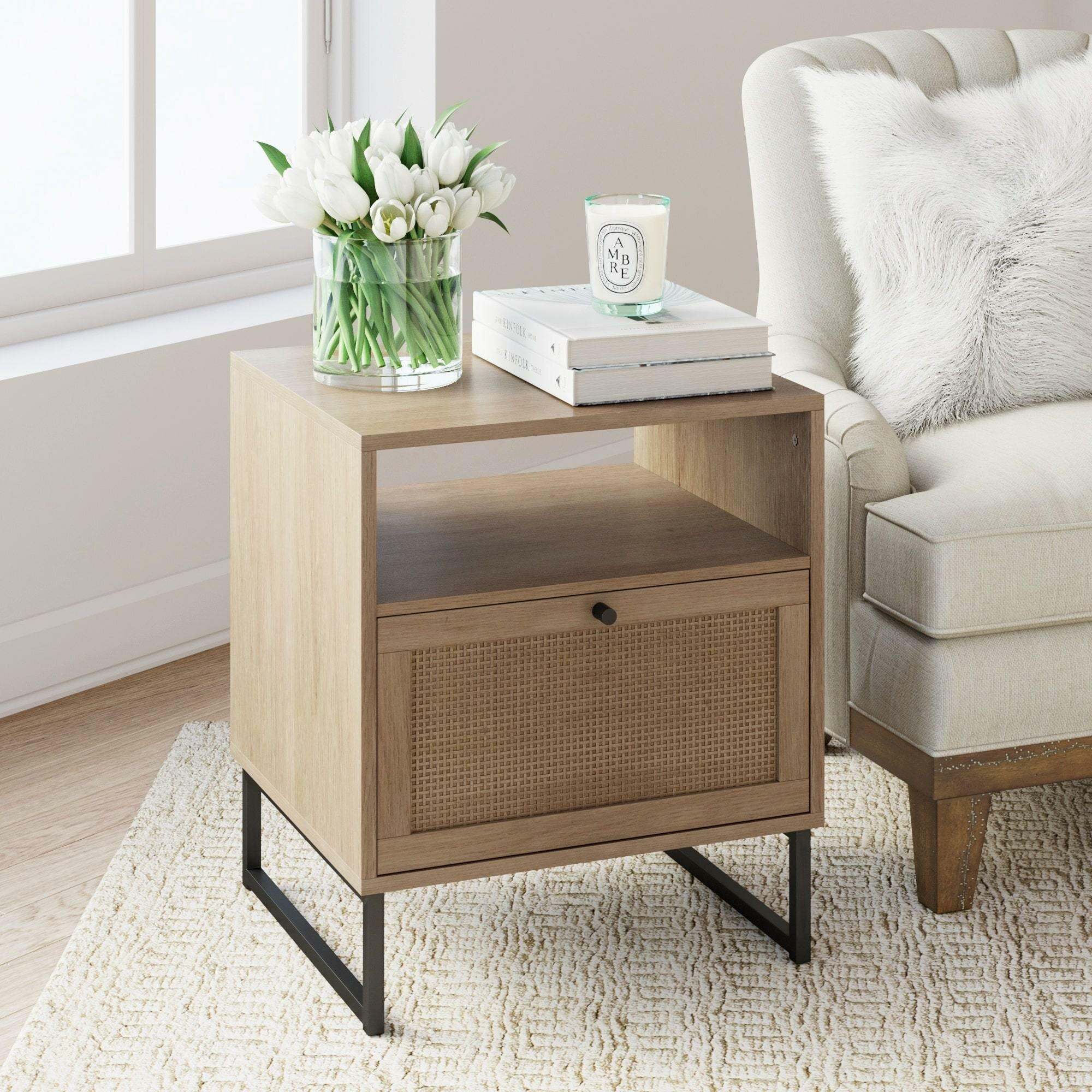 Union Rustic Hugette Sled End Table With Storage Reviews Wayfair