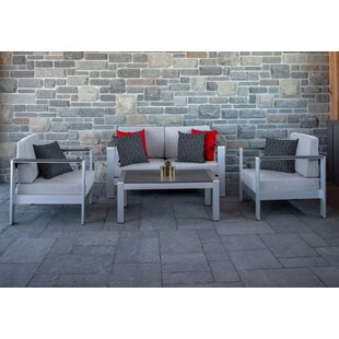 Woodinville 4 Piece Sofa Seating Group with Sunbrella Cushions
