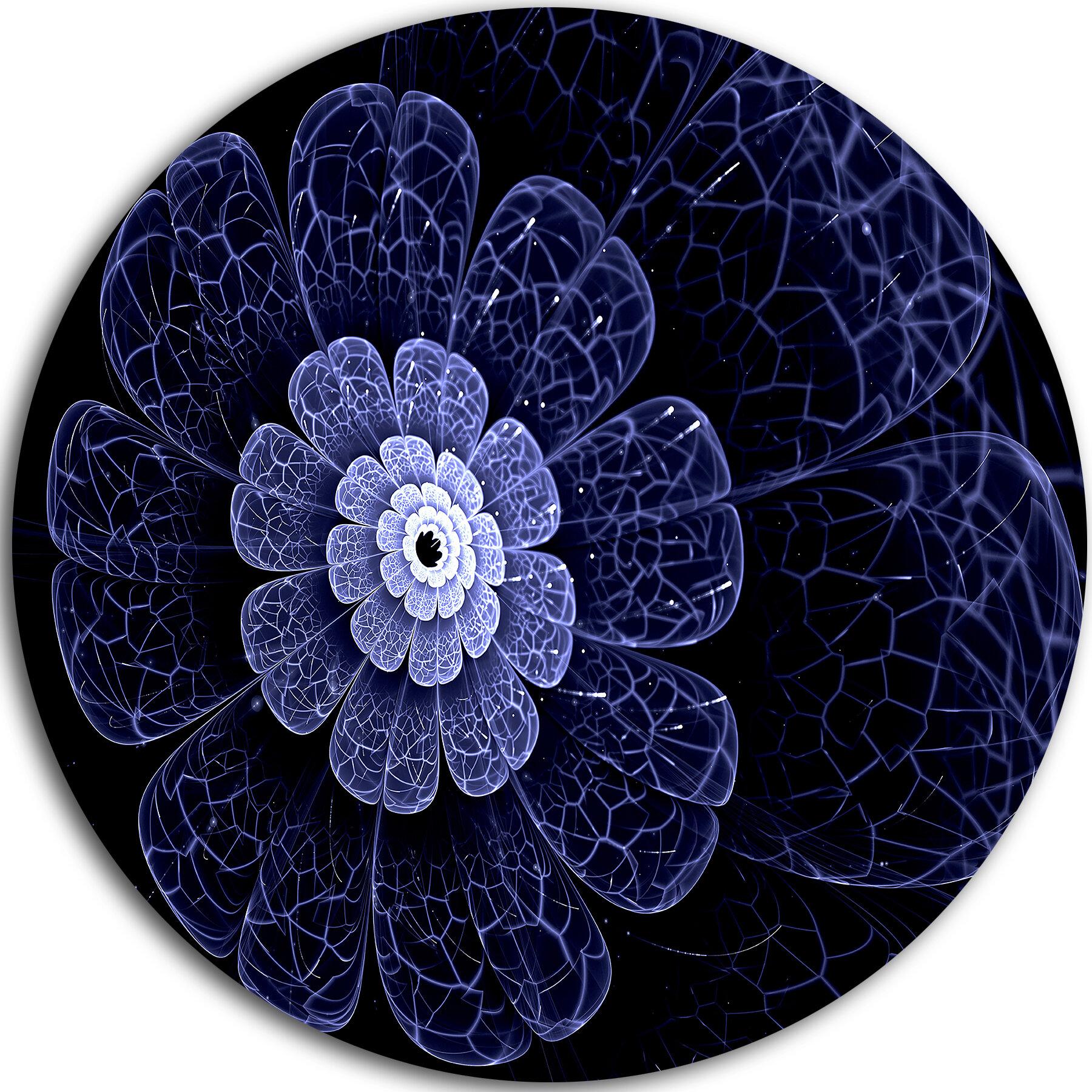 Designart Glittering Bright Blue Fractal Flower Graphic Art Print On Metal Wayfair