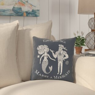Holmquist Marry A Mermaid Blue Outdoor Throw Pillow