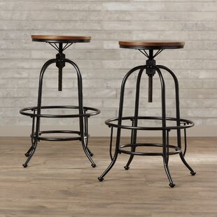 Keomi Adjustable Height Swivel Bar Stool (Set of 2)