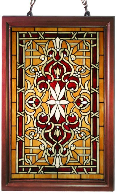 warehouse of tiffany wood frame stained glass window panel reviews