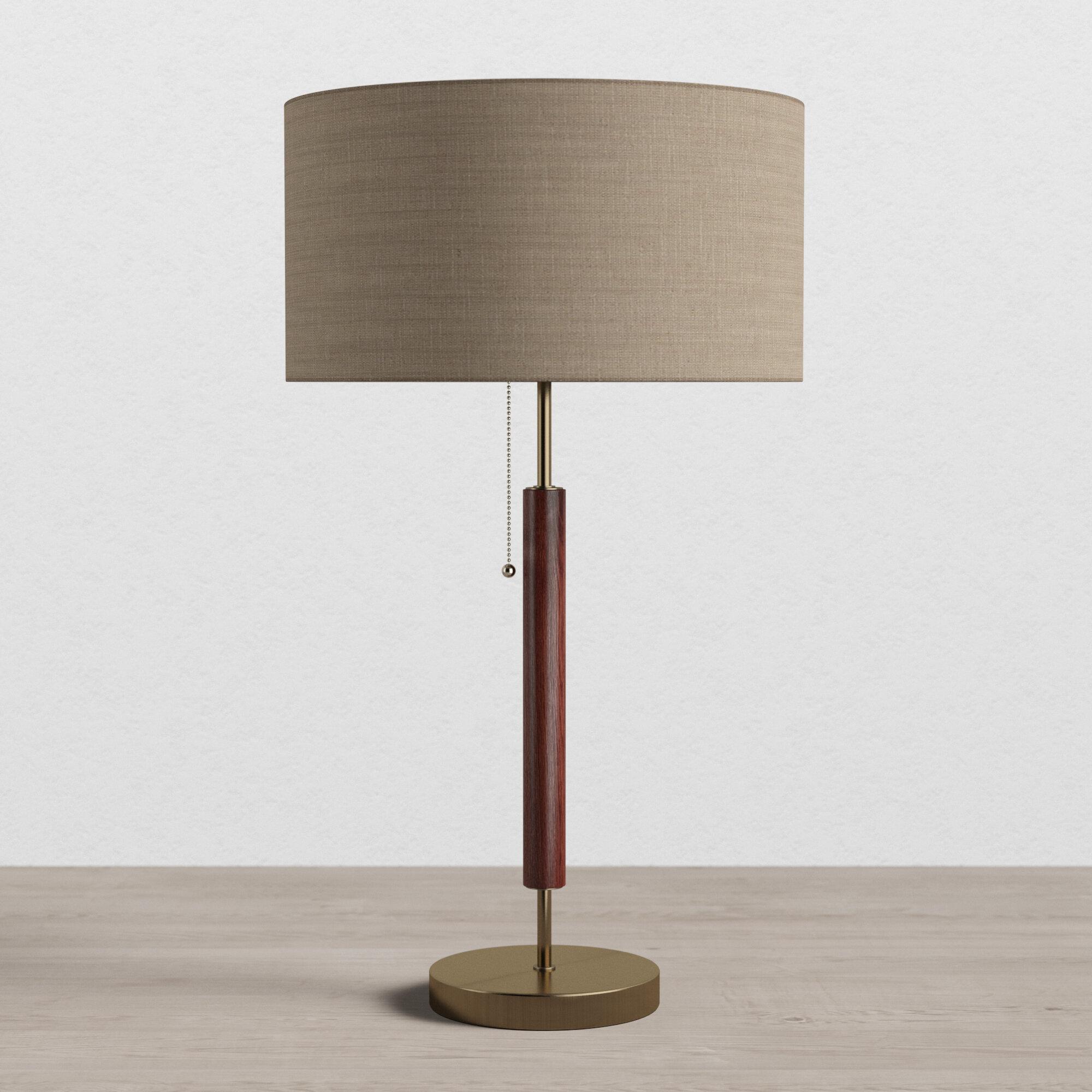 Allmodern Pamela 26 Walnut Table Lamp Reviews Wayfair