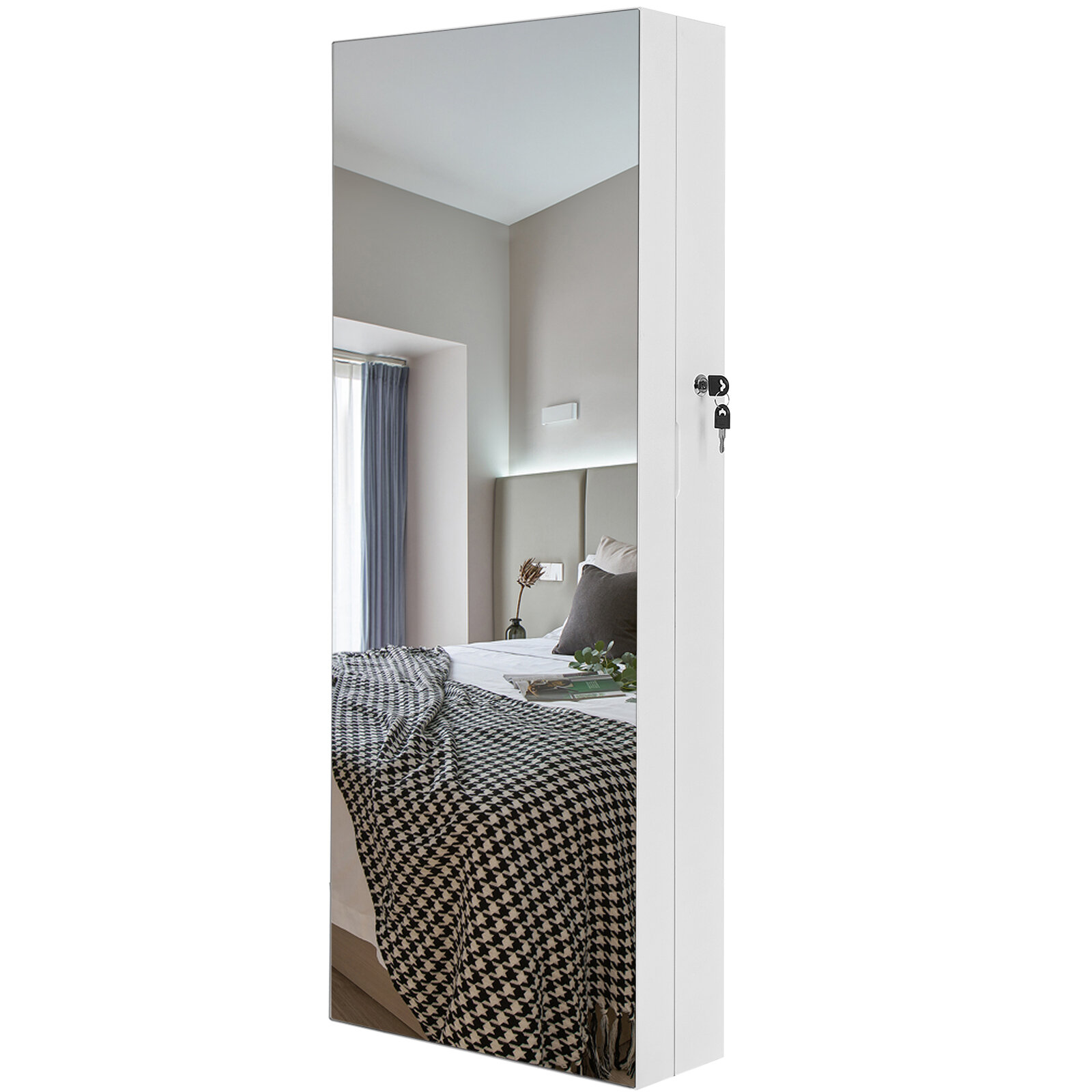 Azalea Lockable Wall Mounted Jewelry Armoire With Frameless Full Length Mirror