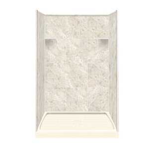 Budget Solid Surface 75 x 48 x 36 Three Panel Shower Wall With Base By Samson