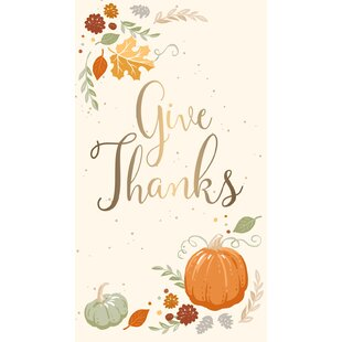 Mikhail Metallic Give Thanks Hand Towel (Set of 15)