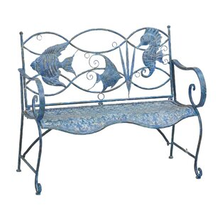 Brynne Blue Fish Metal Garden Bench