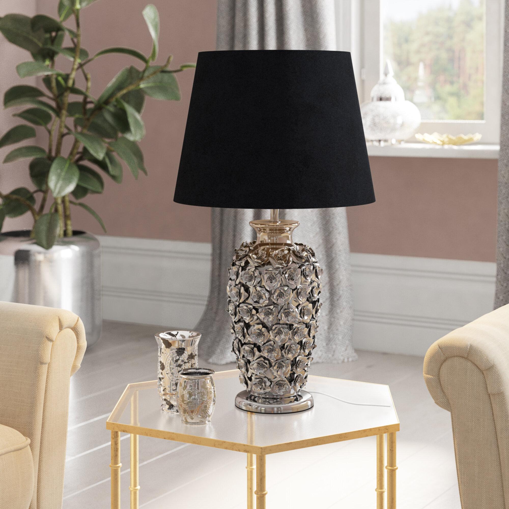 Silberfarbene Tischlampe Metall Leuchte Lampe Nachttisch Schirmlampe Deko