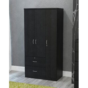 feature Looking for Feinstein Black 3 Door Armoire By Latitude Run