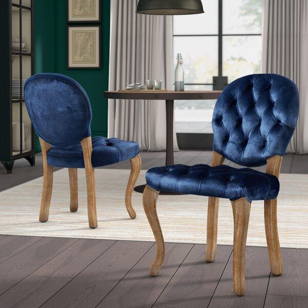Greyleigh Meiners Tufted Velvet Upholstered King Louis Back Side Chair Reviews Wayfair