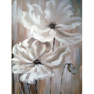 White flower painting wayfair white flower i oil painting print on wrapped canvas mightylinksfo