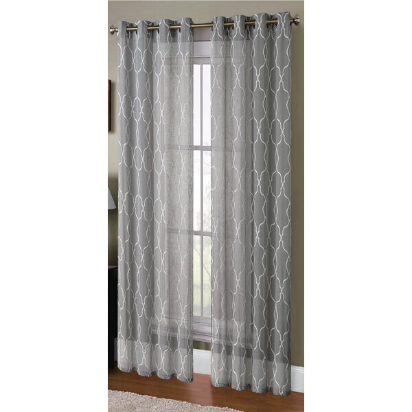 Alcott Hill Knollwood Boho Embroided Geometric Sheer Grommet Curtain Panels  U0026 Reviews | Wayfair