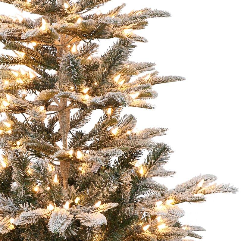 White Fir Christmas Tree: Pre-lit Aspen Flocked 7.5' White/Green Fir Trees