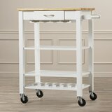 Morgandale Kitchen Cart with Butcher Block Top by Alcott Hill®