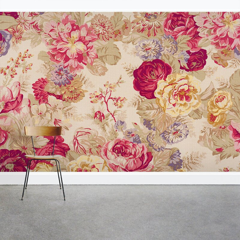 Vintage Floral Rose 8 X 144 3 Piece Wall Mural