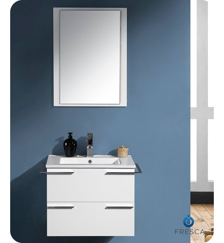 "24 Bathroom Vanity Modern fresca cielo 24"" single modern bathroom vanity set with mirror"
