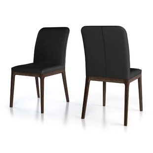 Hubbard Genuine Leather Upholstered Dining Chair (Set of 2) 17 Stories