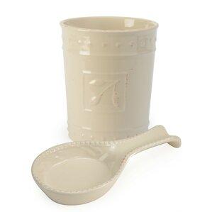 Genesee 2 Piece Spoon Rest And Utensil Crock Set