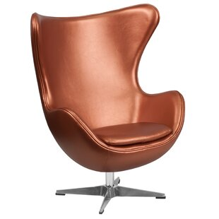 Noles Leather Swivel Balloon Chair and Ottoman by Orren Ellis