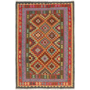 Shop For One-of-a-Kind Romilly Handwoven Flatweave 5'5 x 8'2 Wool Green/Yellow/Red Area Rug By Isabelline