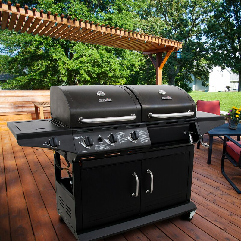 Deluxe Combo Charcoal Grill With Side Burner