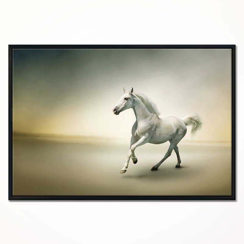 East Urban Home \'White Horse in Motion\' Framed Graphic Art Print on ...