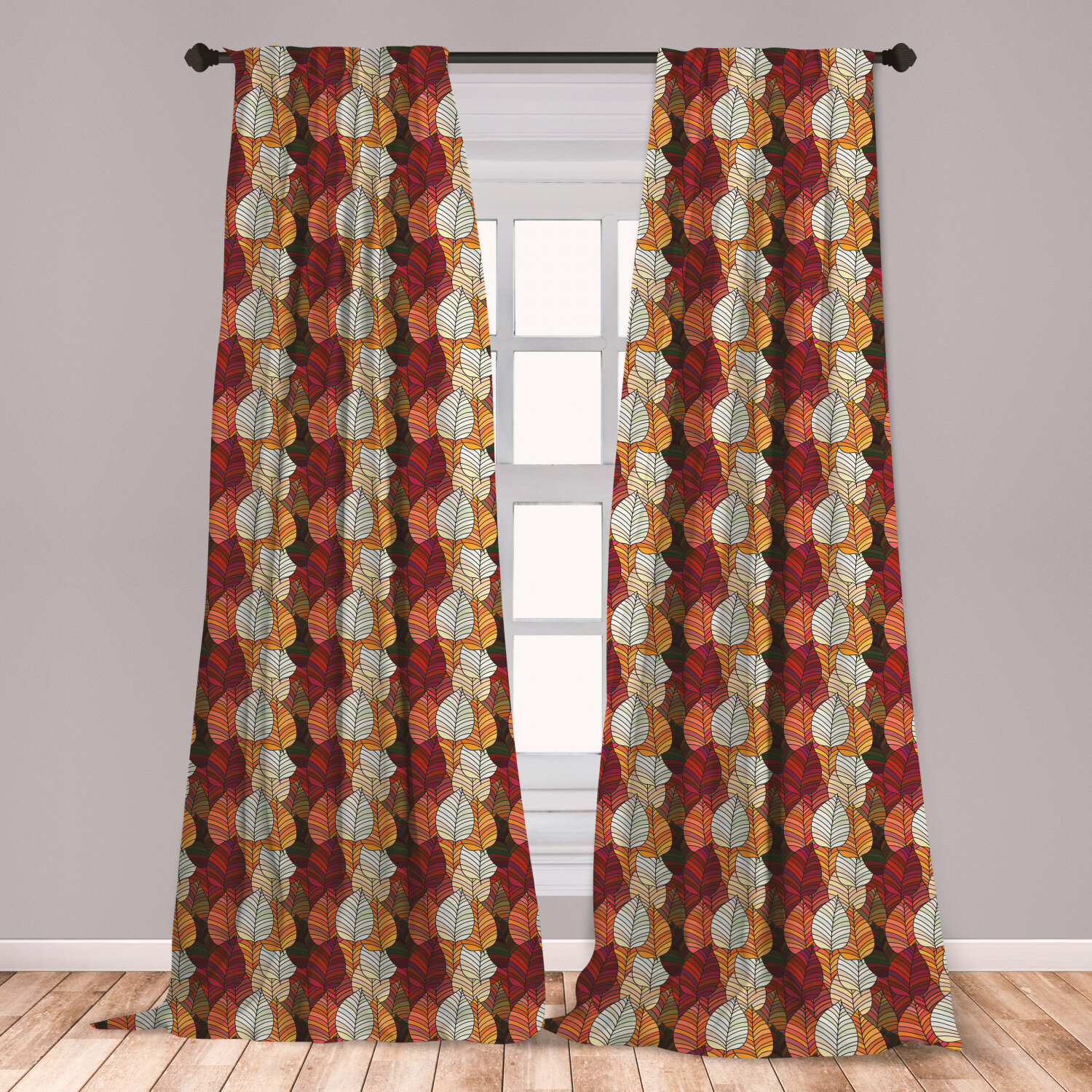 East Urban Home Fall Leaves Floral Room Darkening Rod Pocket Curtain Panels Wayfair