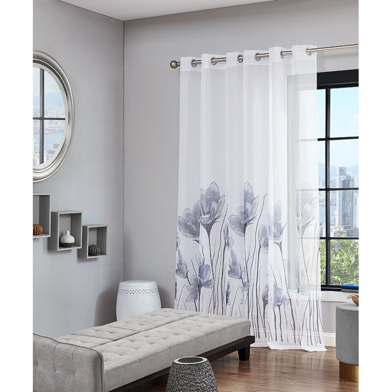 Fashion Floral Window Door Sheer Curtain Panels Divider Drape Home Decor Newly
