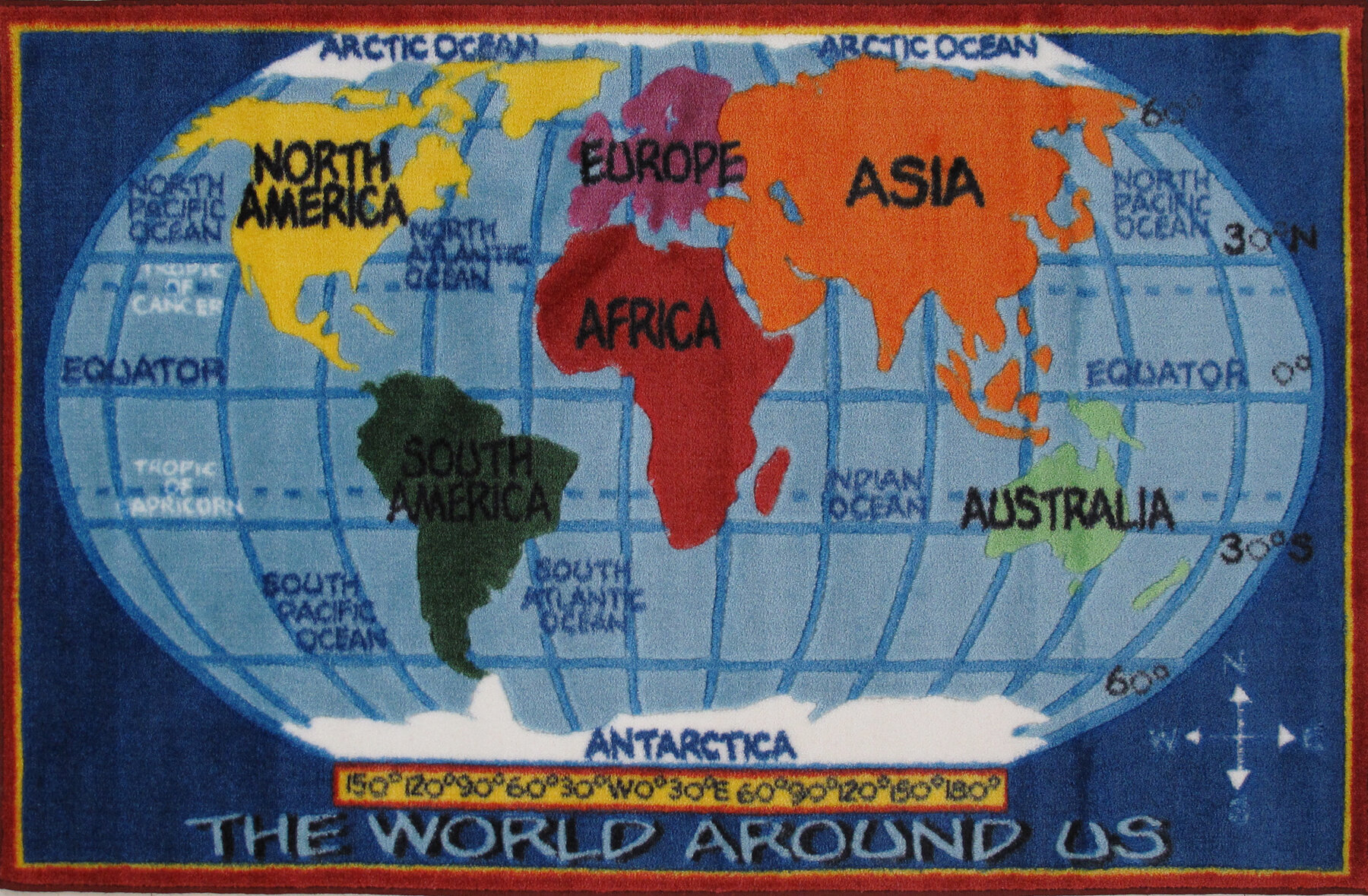 Fun Rugs Supreme Kids World Map Classroom Blue Area Rug & Reviews ...