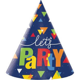 Geo Pop Birthday Hat Paper Disposable Party Favor (Set of 24)