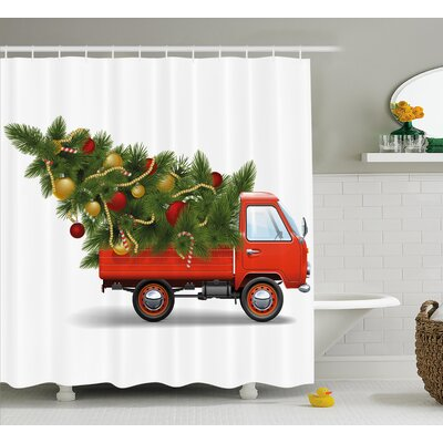 Christmas Truck And Big Tree Shower Curtain