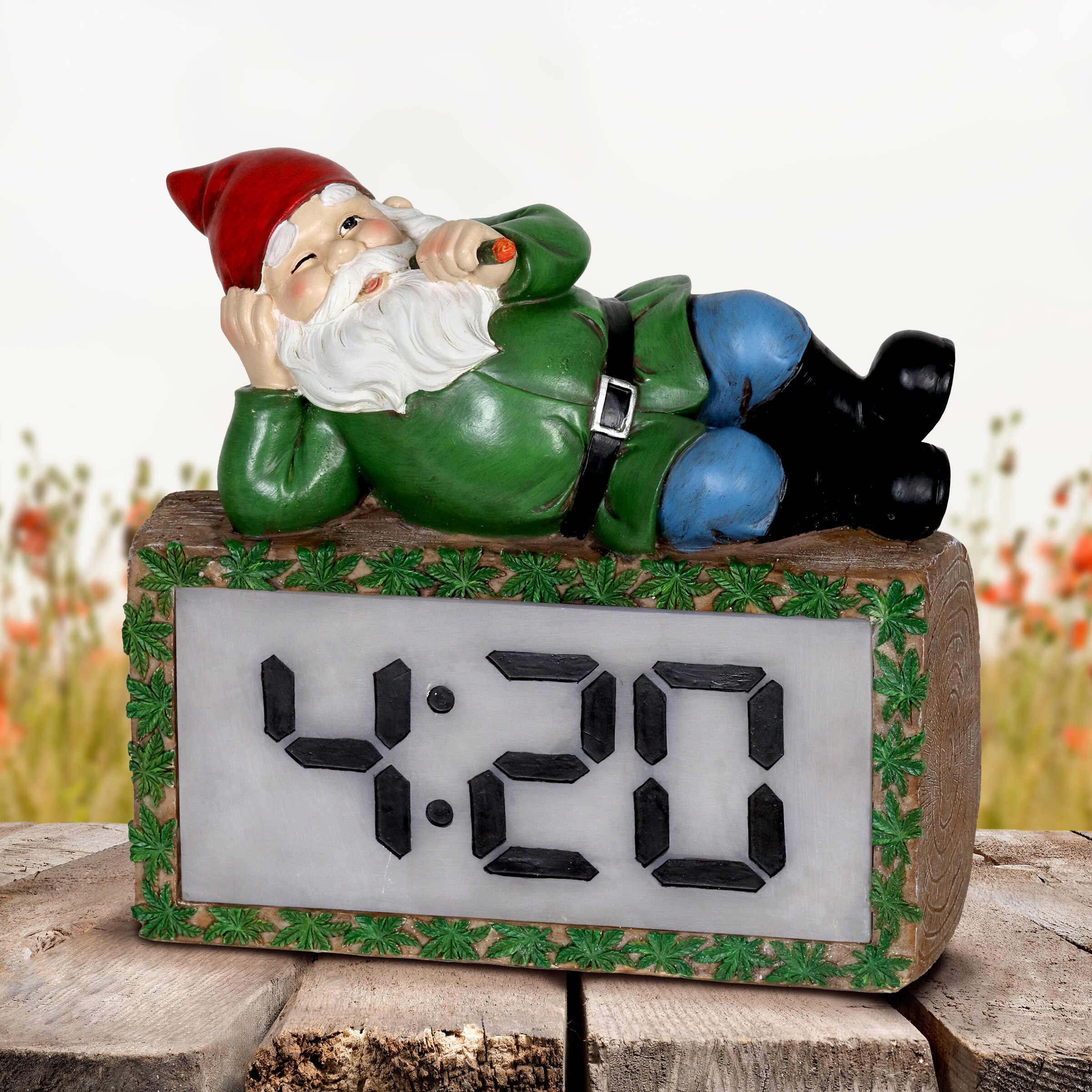 Smoking Gnome with LED 4:20 Clock Statue