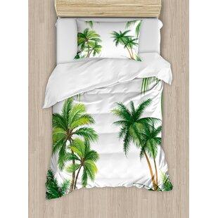 Tropical Coconut Palm Tree Nature Paradise Plants Foliage Leaves Digital  Illustration Duvet Set