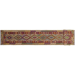 Vallejo Kilim Geometric Hand-Woven Runner Red Area Rug
