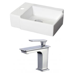 Ceramic 17 Wall Mount Bathroom Sink with Faucet and Overflow American Imaginations