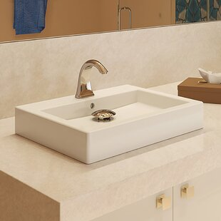 Reviews Classically Redefined Tallia Ceramic Rectangular Vessel Bathroom Sink with Overflow ByDECOLAV