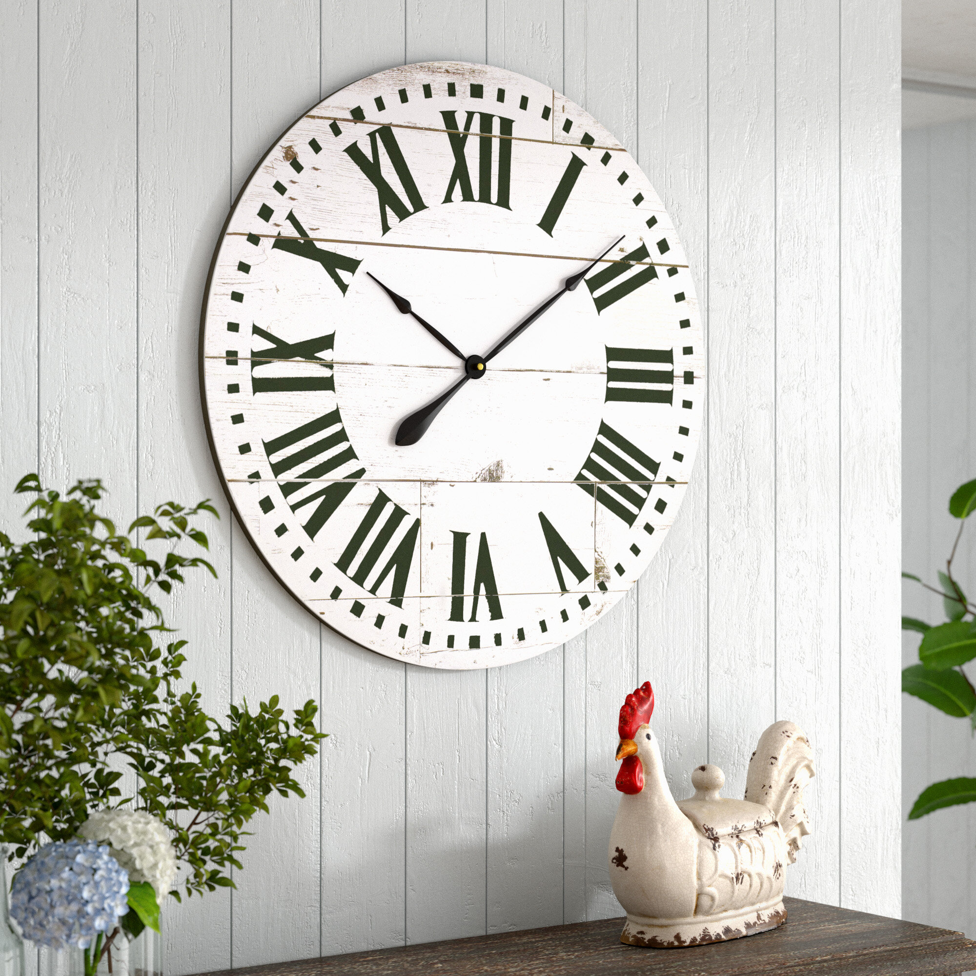 Three Posts Oversized Braylee French Country With Shiplap Face 30 Wall Clock Reviews Wayfair