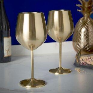 Shatterproof 10 oz. Stainless Steel Stemmed Wine Glass (Set of 2)