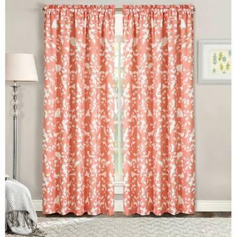 East Urban Home Sea Shells Semi Sheer Thermal Rod Pocket Curtain Panels Wayfair