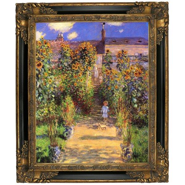 Astoria Grand U0027Monets Garden In Vetheuilu0027 By Claude Monet Framed Graphic  Art Print On Canvas U0026 Reviews   Wayfair