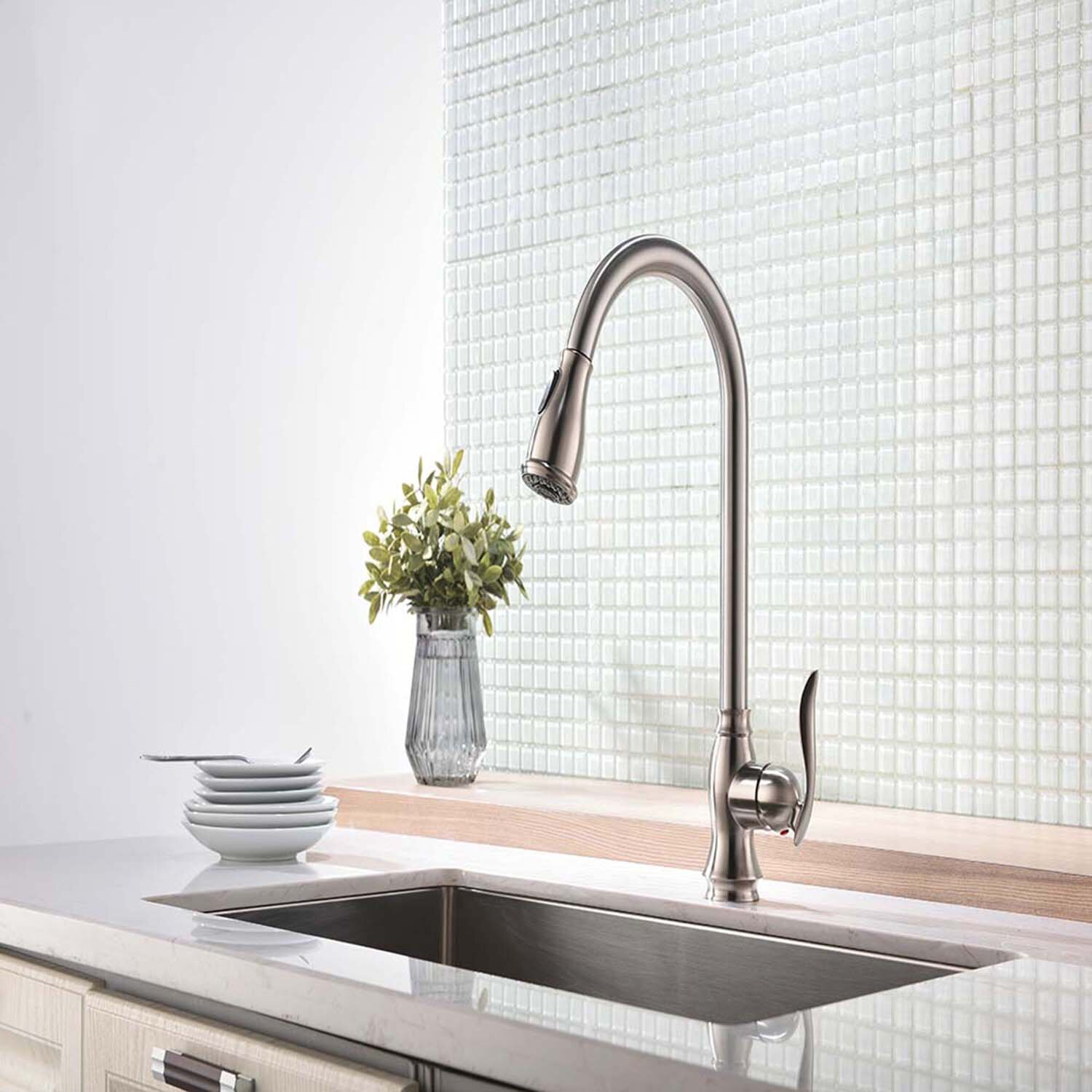 Ferro Decor Easy Install Single Handle No Sensor Pull Down Sprayer Kitchen Faucet With Flexible Hose In Brushed Nickel Wayfair